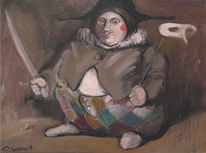 Malerei, Ölmalerei, Figural, Harlekin
