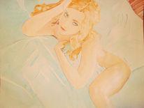 Weiblich, Aquarellmalerei, Akt, Aquarell
