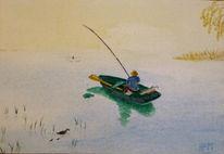 Boot, Angler, Himmel, Aquarell