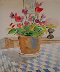Hobbykunst, Blumentopf, Stillleben, Aquarellmalerei