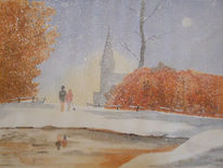 Schnee, Winter, Hobbymalerei, Aquarell