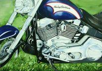 Motorrad, Malerei, Harley