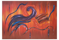 Malerei, Abstrakt, Rot, Lila