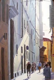 Malerei, Ganzes, Florenz, Gasse