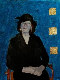 Hut, Portrait, Stuhl, Dame