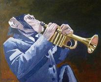 Malerei, Ganzes, Trompete, Schimpanse