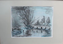 Fluss, Mischtechnik, Aquarellmalerei, Winter