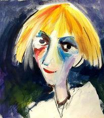 Menschen, Kräftig, Blond, Malerei