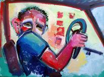Menschen, Ölmalerei, Taxifahrer, Malerei