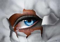 Augen, Malerei, Portrait, Durchblick