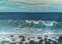 Meer, Lavaküste, Welle, Malerei