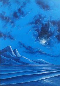 Mond, Wolken, Meer, Malerei