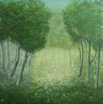 Lichtung, Waldstimmung, Wald, Malerei
