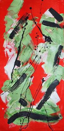 Grün, Kaktus, Spachteltechnik, Acrylmalerei