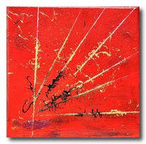 Rot schwarz, Gold, Acrylmalerei, Abstrakt