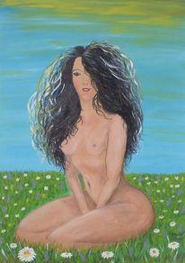 Wiese, Natur, Akt, Malerei