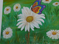 Malerei, Wiese, Acrylmalerei, Blumen