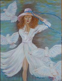 Taube, Hut, Acrylmalerei, Frau