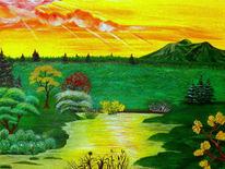 See, Sonnenaufgang, Malerei, Berge
