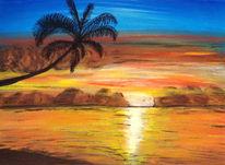 Sonnenuntergang, Palmen, Acrylmalerei, Malerei