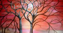 Sonnenuntergang, Acrylmalerei, Baum, Malerei