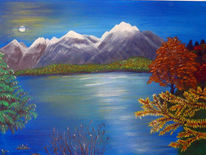 Acrylmalerei, Herbst, See, Malerei