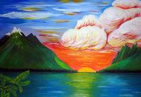 Berge, See, Malerei, Sonnenuntergang