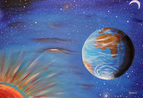 Malerei, Mond, Universum, Erde