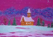 Malerei, Acrylmalerei, Mond, Kirche