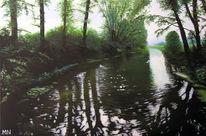 Brücke, Baum, Spiegelung, Wasser