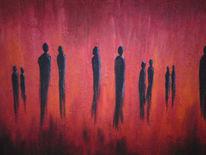 Gesellschaft, Treffen, Rot, Figur