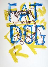 Hund, Fett, Zeichnungen, Achtung
