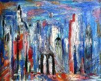 Blau, Mischtechnik, Acrylmalerei, Rot
