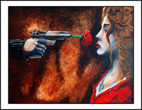 Guns, Kill, Frau, Ölmalerei