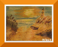 Malerei, Abend, Strand