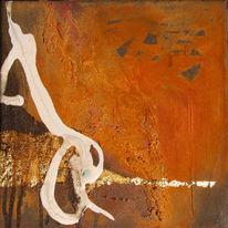 Weiß, Abstrakt, Gold, Malerei