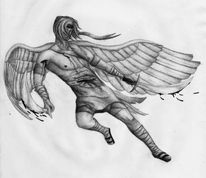 Bleistiftzeichnung, Engel, Kampf, Kämpfer