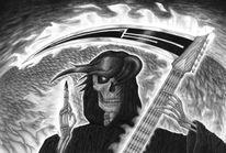 Tod, Gitarre, Schädel, Felsen