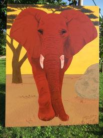 Schön, Afrika, Elefant, Malerei