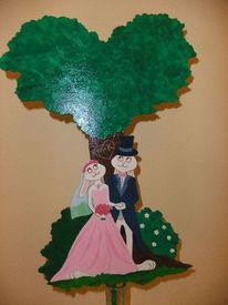 Hochzeit, Geschenk, Blumenstecker, Gebastelt