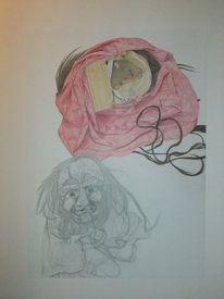 Hexenmaske, Maske, Fasching, Zeichnung