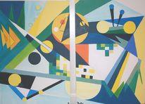 Blau gelb, Ölmalerei, Konstruktiver kubismus, Halbkreise