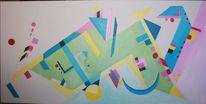Konstruktiver kubismus, Blau gelb, Dreiecke kreise, Abstrakt