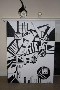 Schwarz weiß, Construktive kunst, Ria reuter, Dreiecke kreise