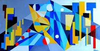 Konstrukt, Kubismus, Blau, Ölmalerei