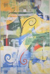 Riareuter, Blau gelb, Halbkreise, Geometrische figuren