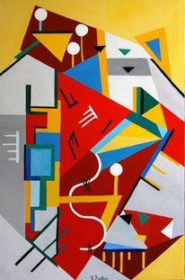 Konstruktiver kubismus, Rot, Ölmalerei, Weiß