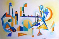 Gelb, Ölmalerei, Florida, Geometrische figuren