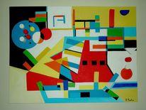 Blau gelb, Weiß, Geometrische figuren, Contruktive cubism
