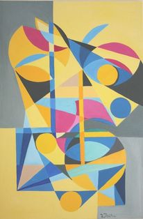 Blau gelb, Dreiecke, Linie, Konstruktiver kubismus